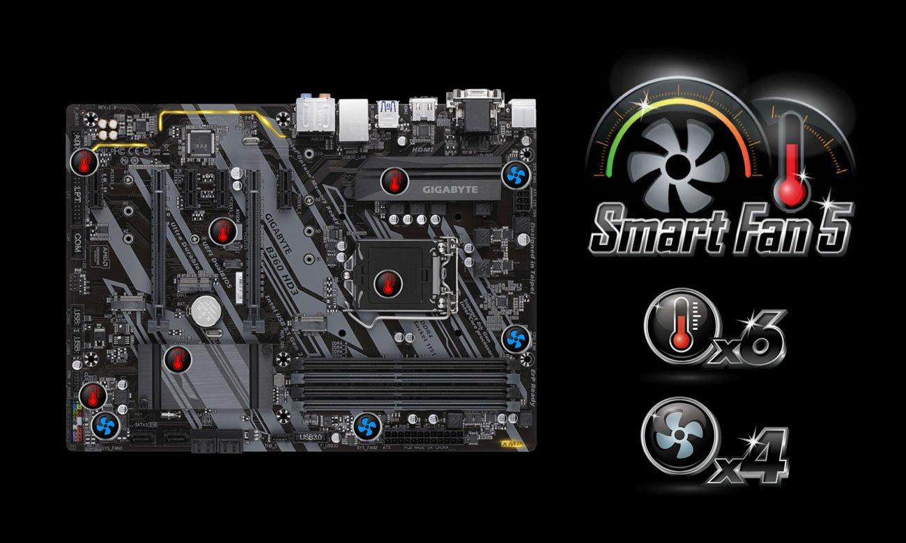 Gigabyte B360 HD3 Chłodzenie Smart Fan 5