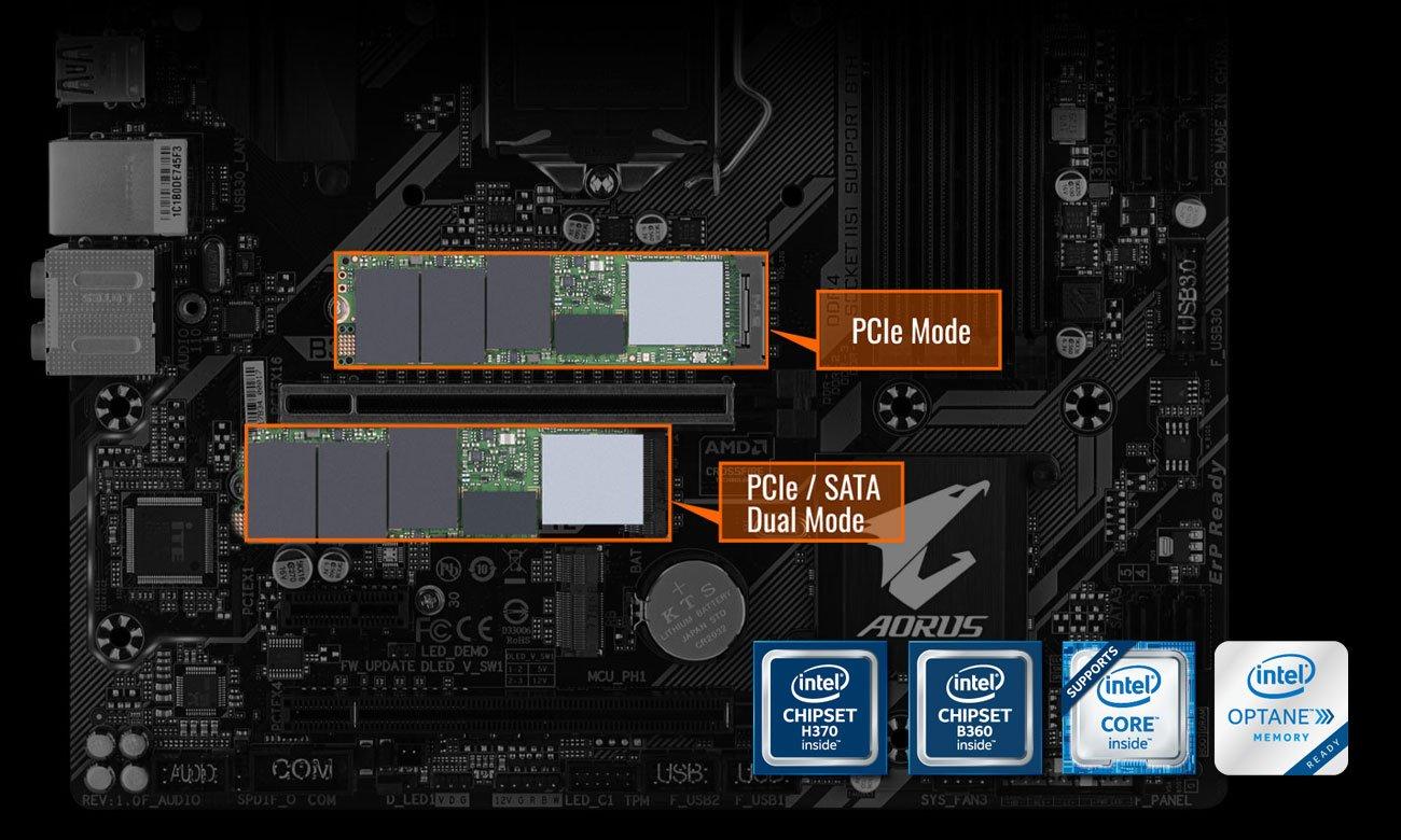 Gigabyte B360M AORUS GAMING 3 Złącza M.2 NVMe PCIe Gen3 x4/x2 Inte Optane