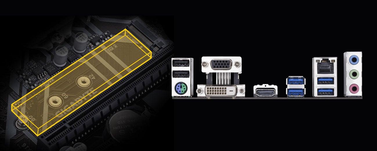 Gigabyte B365M DS3H - Złącza
