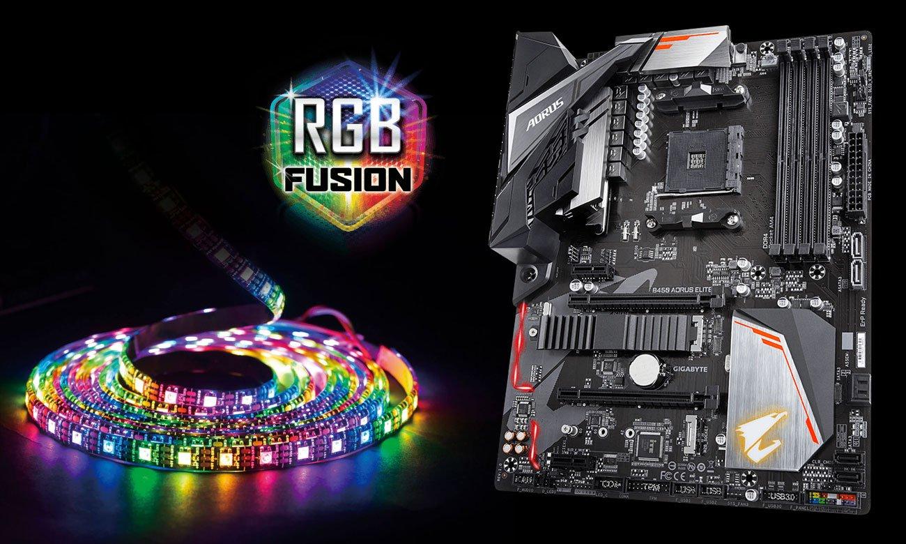 Gigabyte B450 AORUS ELITE Podświetlenie RGB Fusion