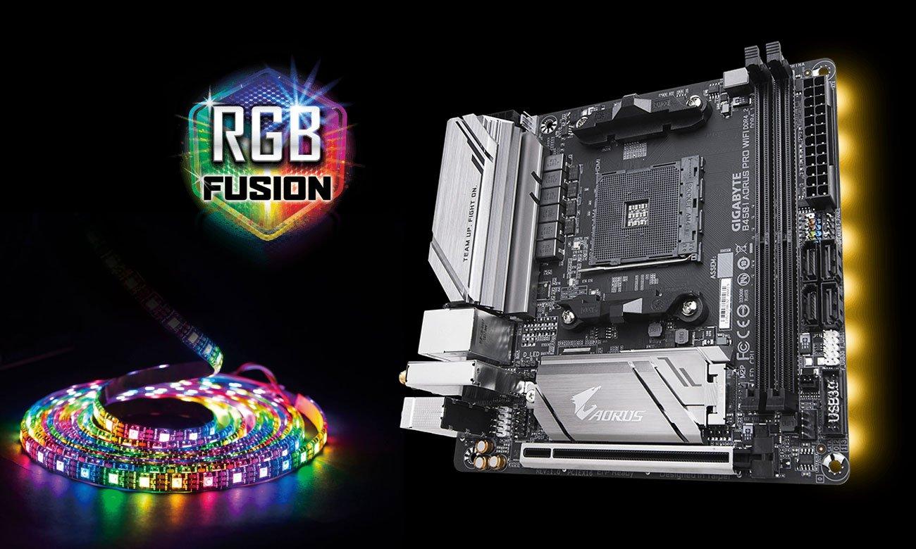 Gigabyte B450 I AORUS PRO WIFI Podświetlenie RGb Fusion