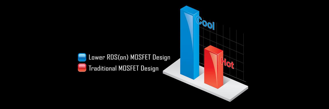 Gigabyte GA-AB350M-HD3 Lower RDS(on) MOSFET