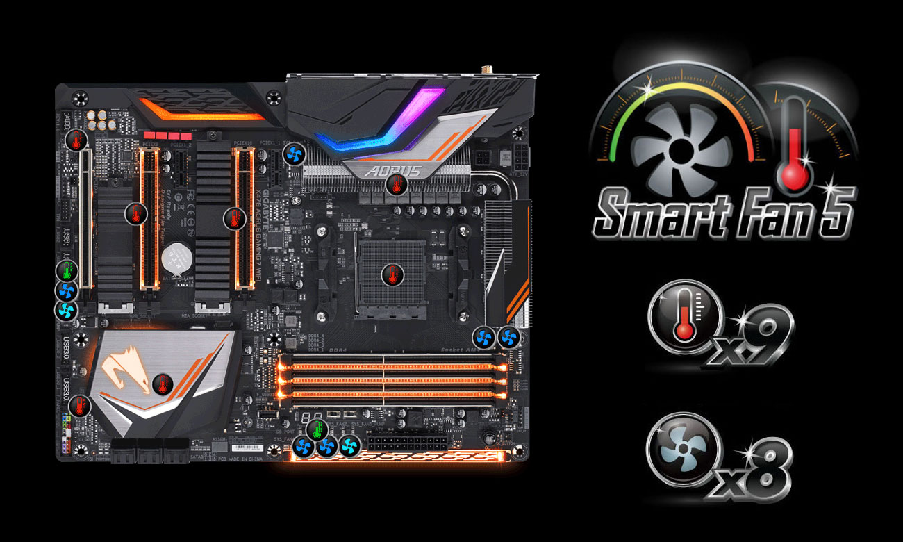 Gigabyte GA-X470-AORUS GAMING 7 WIFI Chłodzenie Smart Fan 5