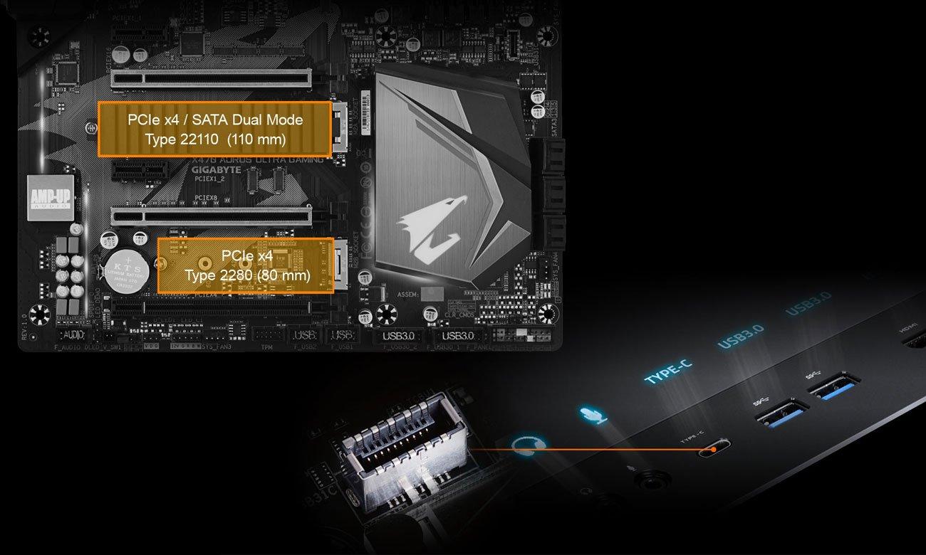 Gigabyte GA-X470-AORUS ULTRA GAMING Złącza NVMe M.2 PCIe, USB-C
