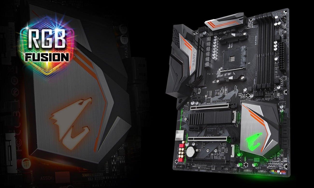 Gigabyte GA-X470-AORUS ULTRA GAMING Podświetlenie RGB Fusion