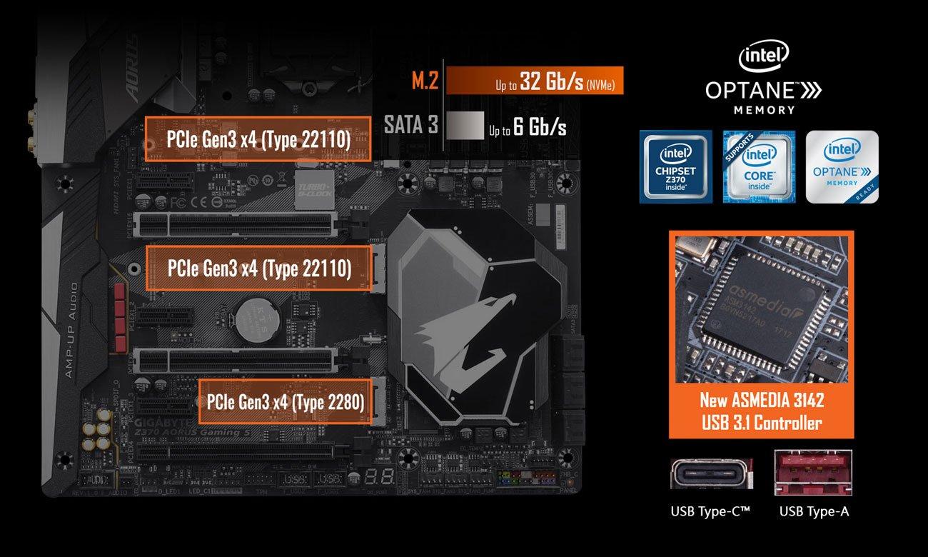 Gigabyte Z370 AORUS Gaming 5 PCIe Gen3 x4 M.2 Intel Optane USB 3.1 Gen2