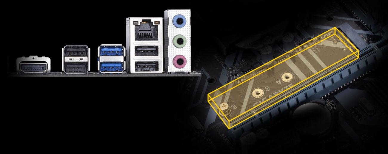 Gigabyte H310M S2H Porty M.2 oraz USB 3.1 Gen1