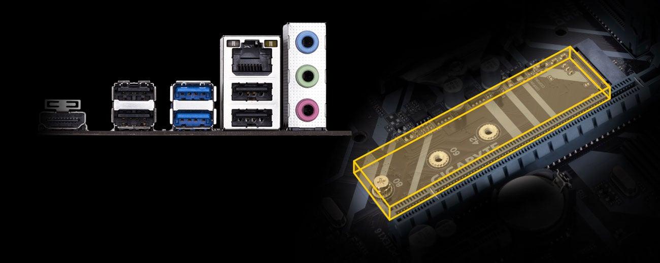 Gigabyte H310M S2H 2.0 Porty M.2 oraz USB 3.1 Gen1