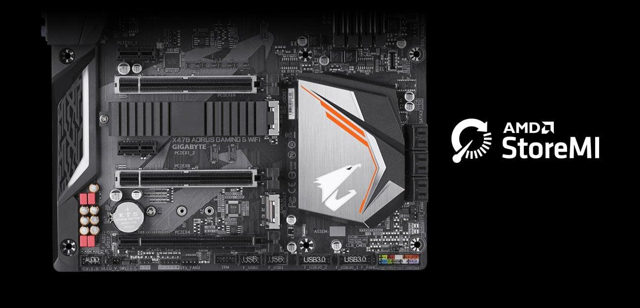 Gigabyte X470 AORUS GAMING 5 WIFI Złącza NVMe M.2 PCIe AMD StoreMI