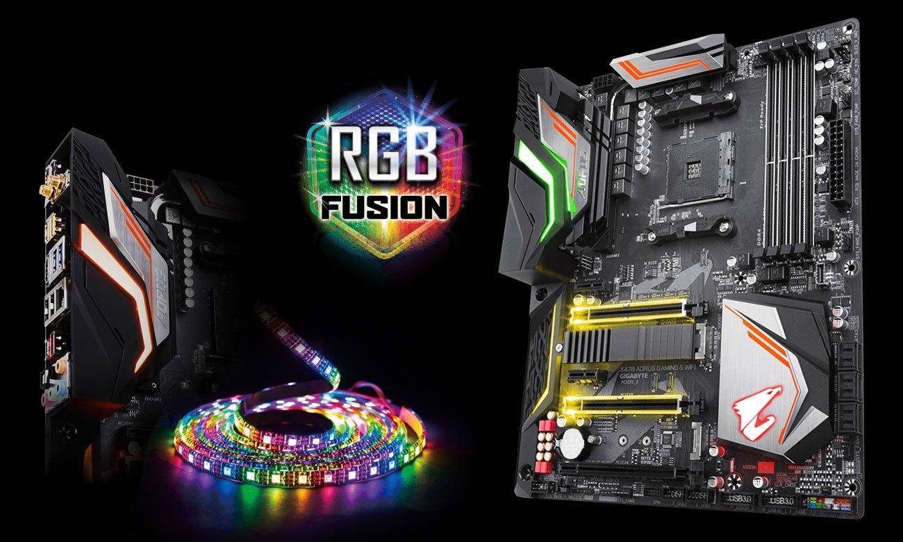 Gigabyte X470 AORUS GAMING 5 WIFI Podświetlenie RGB Fusion