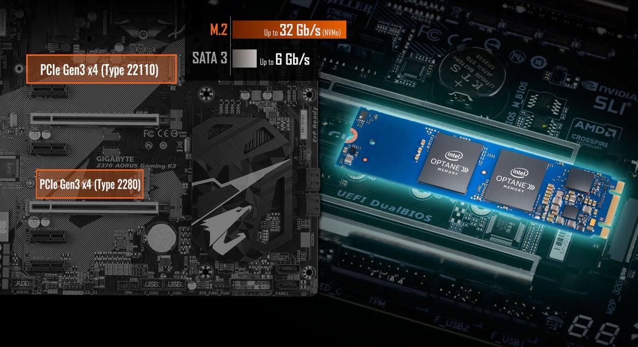 Gigabyte Z370 AORUS Gaming K3 M.2 PCIe Gen3 x4 Intel Optane