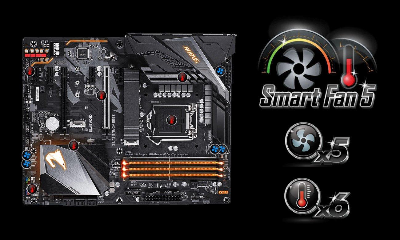 Gigabyte Z390 AORUS ELITE Chłodzenie Smart Fan 5