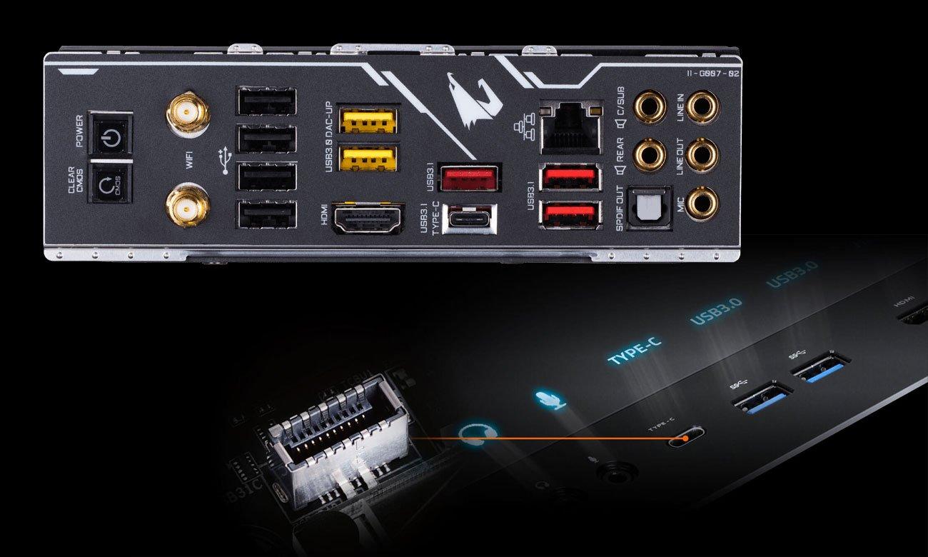 Gigabyte Z390 AORUS MASTER Złącza USB