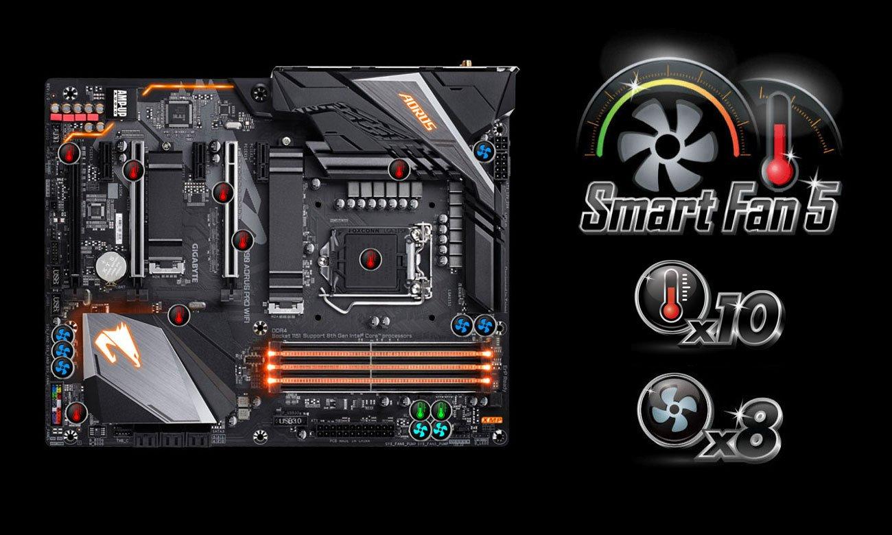 Gigabyte Z390 AORUS PRO WIFI Chłodzenie Smart Fan 5