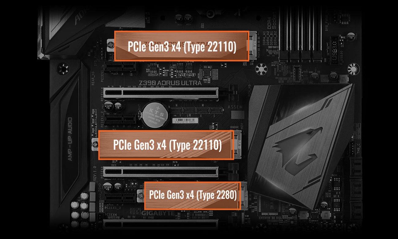 Gigabyte Z390 AORUS ULTRA Trzy złącza PCIe 3.0 x4 M.2