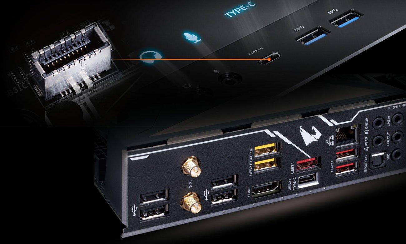 Gigabyte Z390 AORUS ULTRA Złącza USB 3.1 Gen2 Typu C