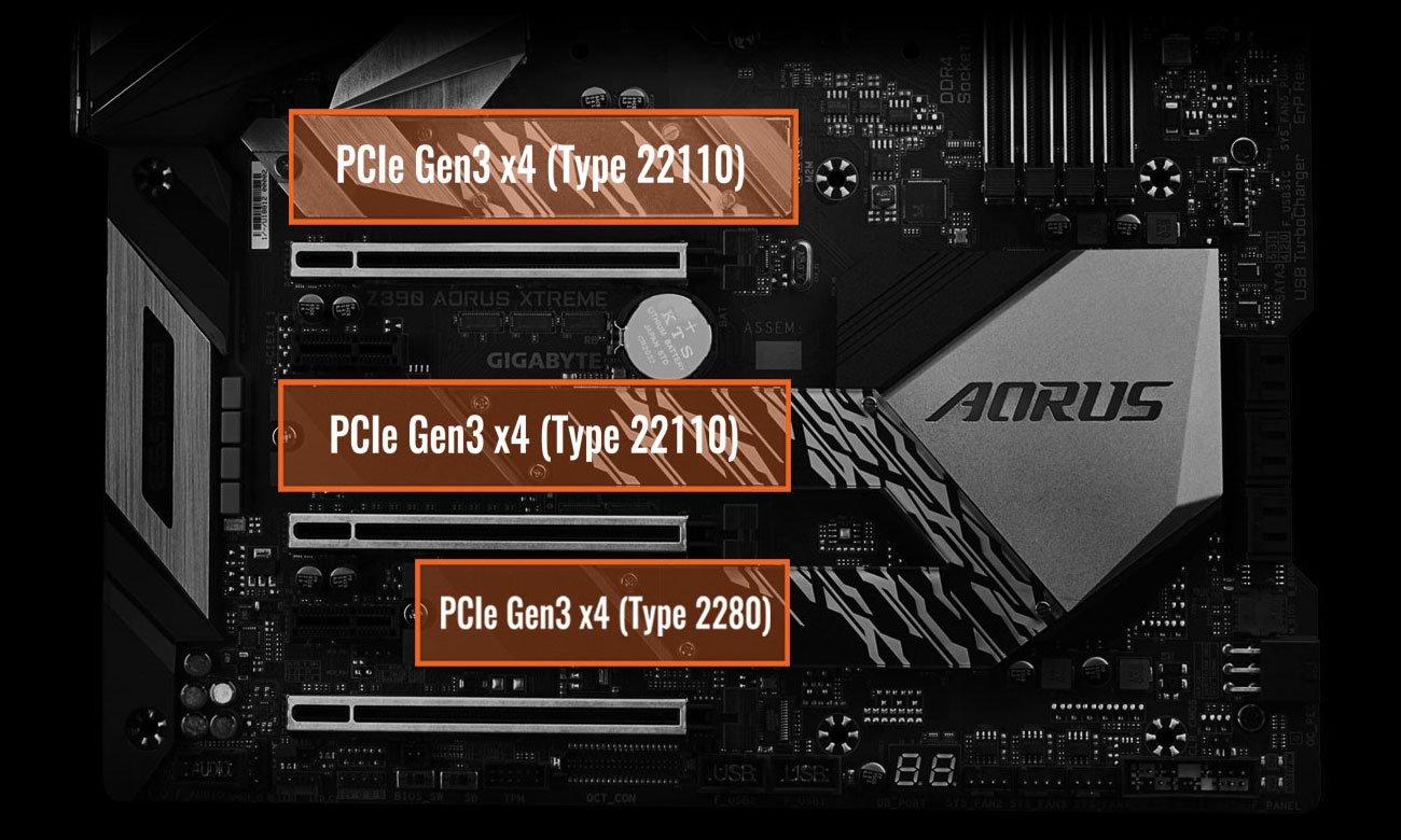 Gigabyte Z390 AORUS XTREME Złącza M.2