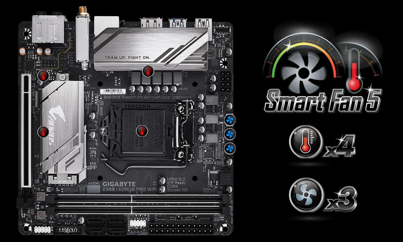 Gigabyte Z390 I AORUS PRO WIFI Chłodzenie Smart Fan 5