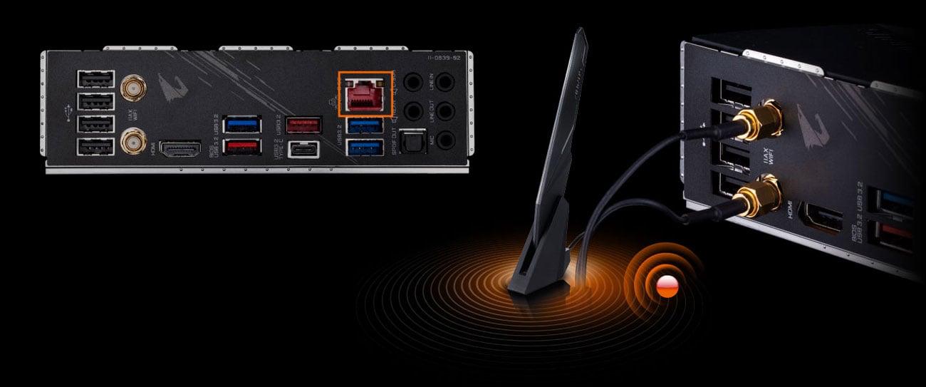 Gigabyte Z490 AORUS PRO AX - Łączność LAN, WiFi