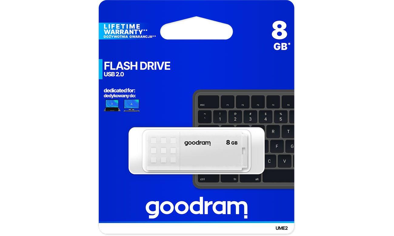Pendrive (pamięć USB) GOODRAM 8GB UME2 odczyt 20MB/s USB 2.0 biały UME2-0080W0R11