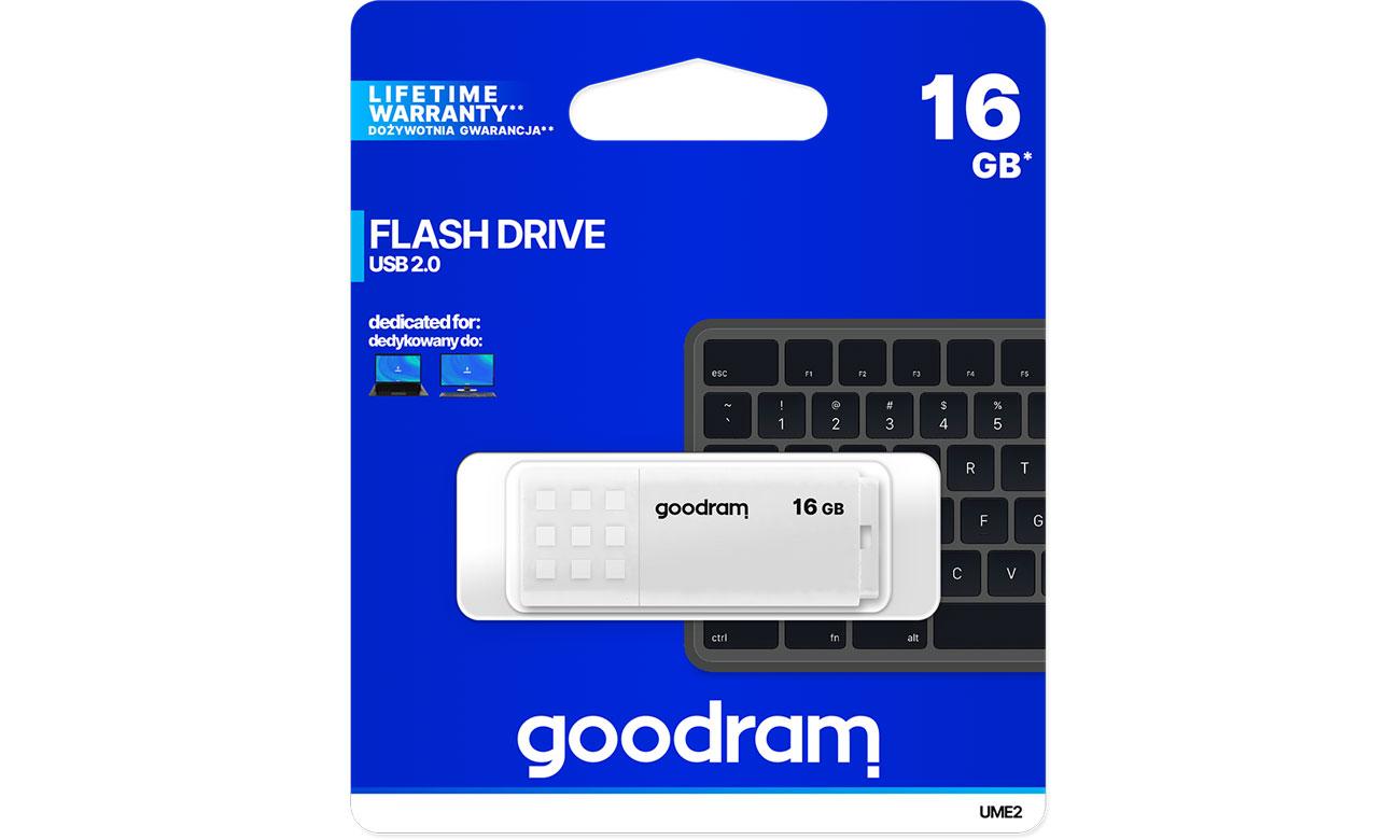 Pendrive (pamięć USB) GOODRAM 16GB UME2 odczyt 20MB/s USB 2.0 biały UME2-0160W0R11