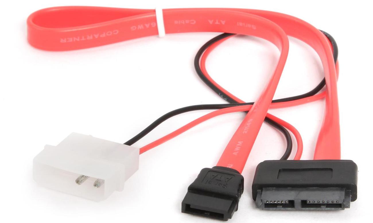 Kable do napędów i dysków Gembird SATA DATA SLIMLINE+zasilający 0.35m CC-SATA-C2