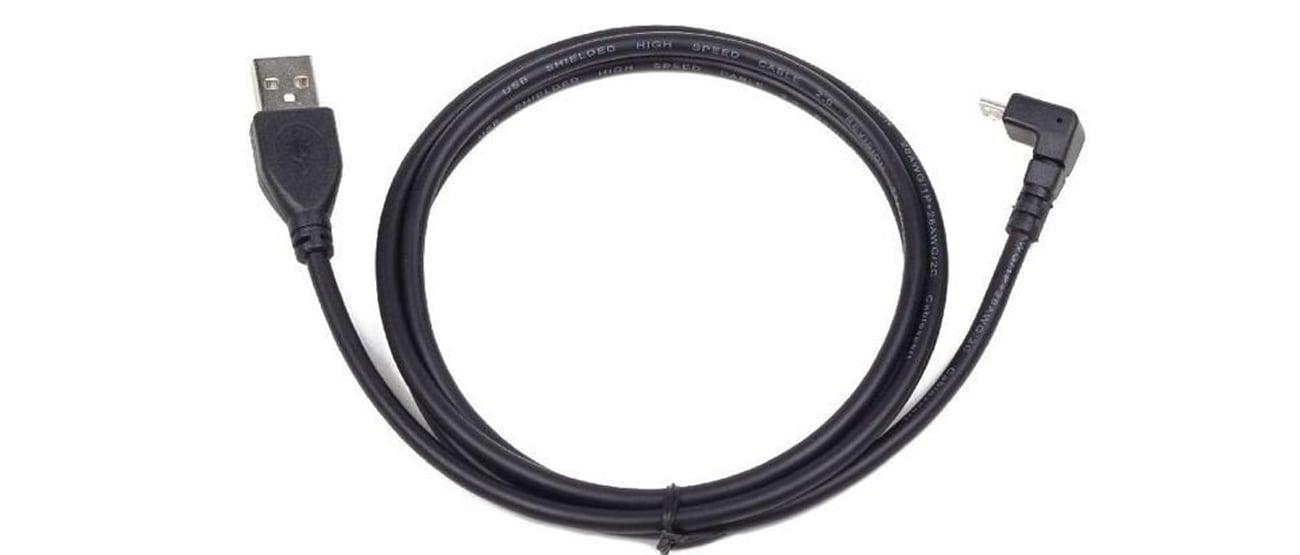 Kabel USB Gembird micro USB AM-MBM5P 1.8m kątowy czarny
