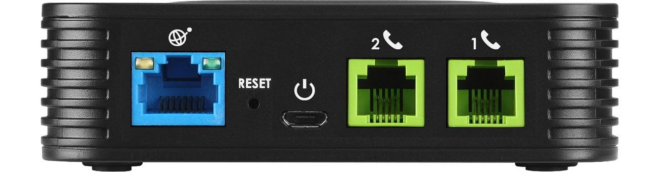Grandstream HT 802 Złącza 1x10/100Mbit 2xFXS 2xSIP