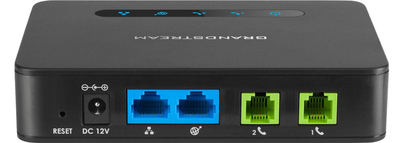 Grandstream HT 812 Złącza 2x10/100/1000Mbit 2xFXS 2xSIP