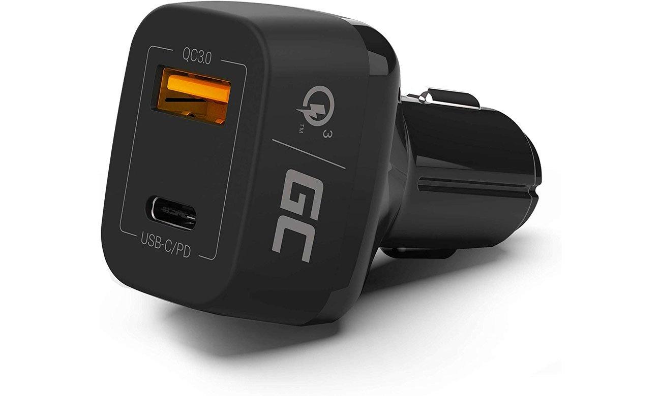 Green Cell Ładowarka Samochodowa USB-C, USB (QC 3.0) CAD33