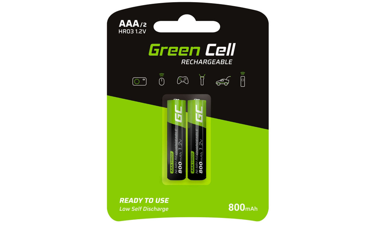 Akumulatory Green Cell 2x AAA HR03 800mAh GR08