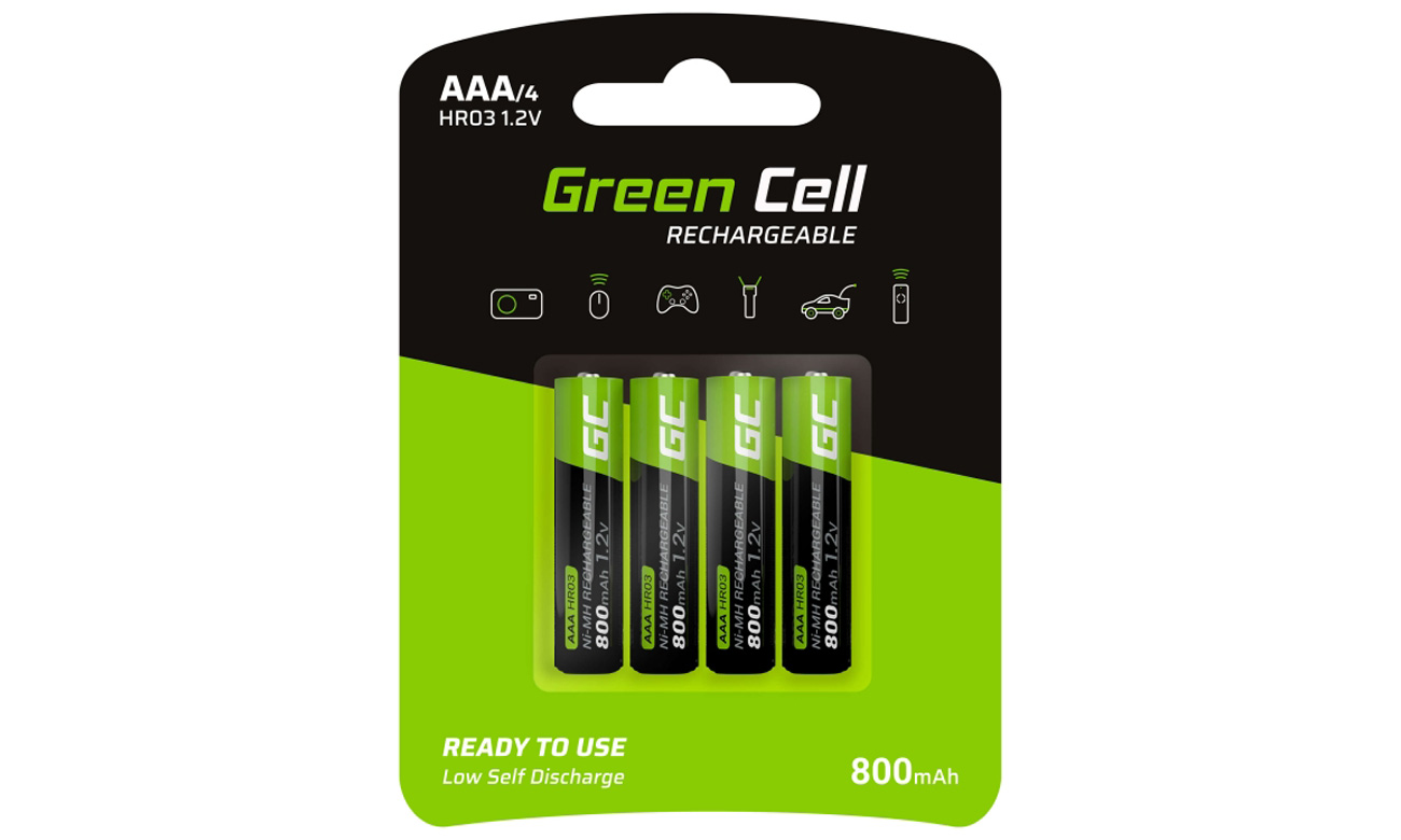 Akumulatory Green Cell 4x AAA HR03 800mAh GR04