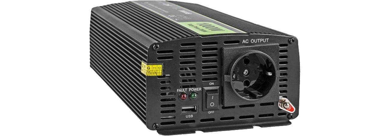 Green Cell Przetwornica napięcia 12V na 230V 1000W/2000W INV08