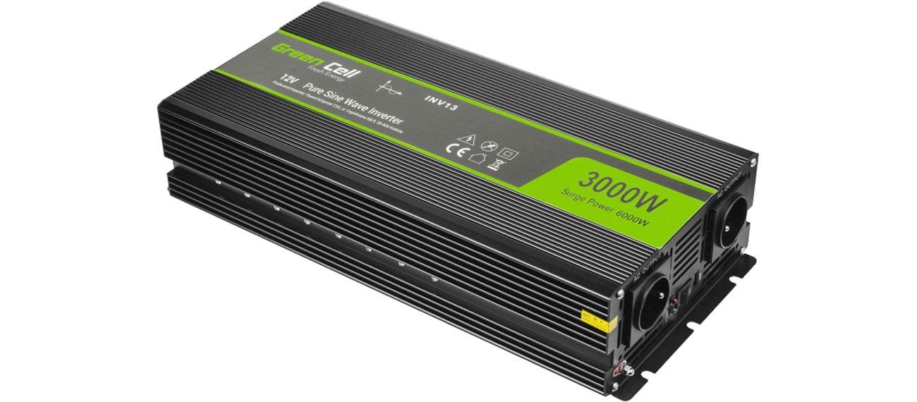 Green Cell Przetwornica napięcia 12V na 230V 3000W/6000W INV15