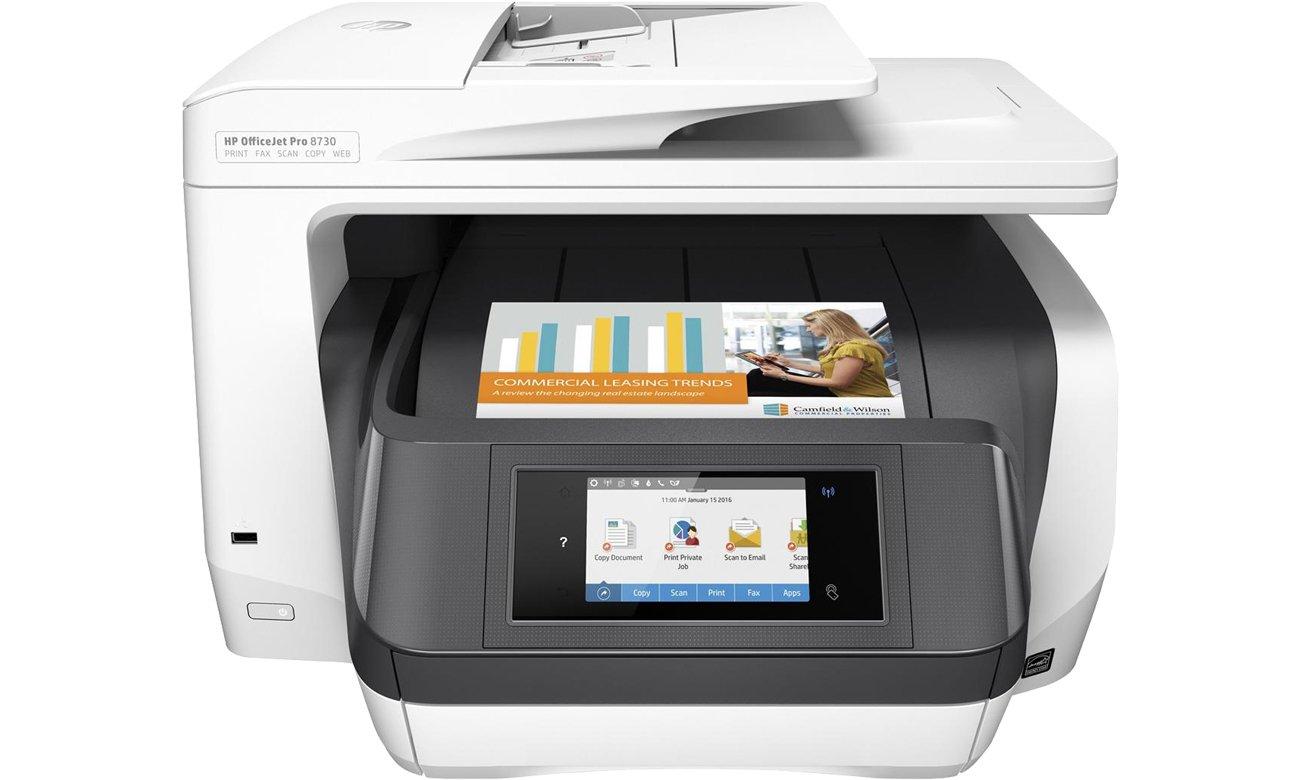 HP OfficeJet Pro 8730 widok z przodu