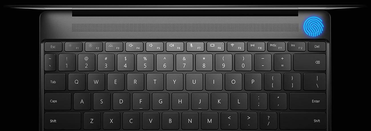 Huawei MateBook X czytnik linii papilarnych