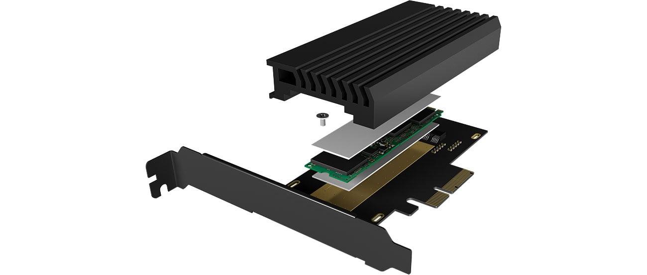 ICY BOX Karta PCIe M.2 M-Key dla 1 dysku SSD M.2 NVMe IB-PCI214M2-HSL