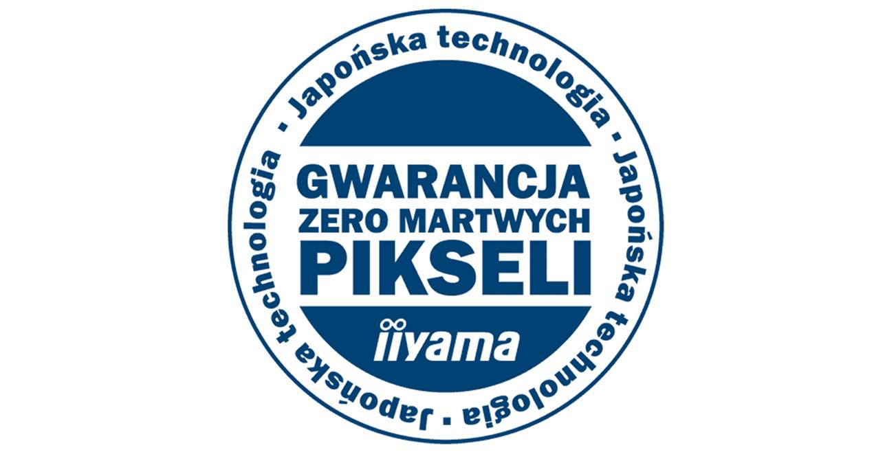 """iiyama XUB3490WQSU Gwarancja Iiiyama """"Zero martwych pikseli"""""""