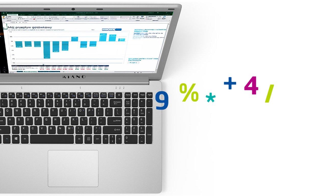 Kiano SlimNote 15.6 klawiatura z sekcją numeryczną