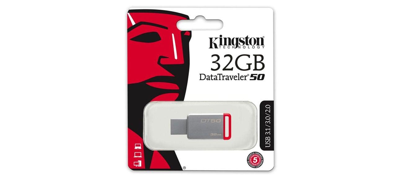Kingston 32GB DataTraveler 50 30MBs szybki niezawodny komapktowy kompatybilny