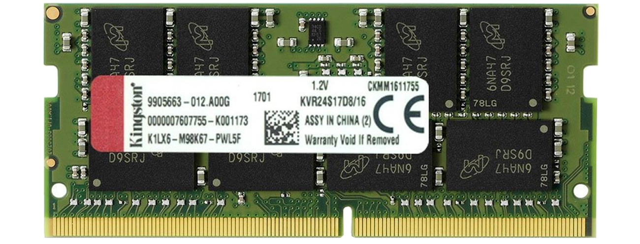 Pamięć RAM SODIMM DDR4 Kingston 16GB 2400MHz CL17 KVR24S17D8/16
