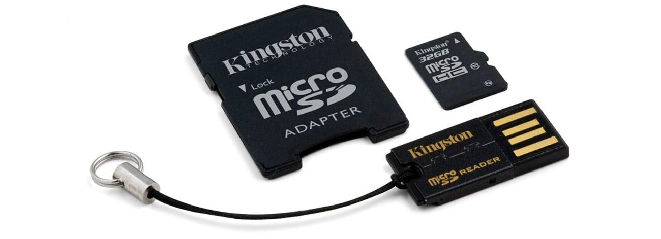 Kingston 32GB microSDHC Class10 +czytnik USB +adapter SDHC MBLY10G2/32GB