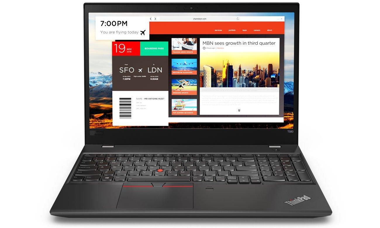 Lenovo ThinkPad T580 Solidne zabezpieczenia i uwierzytelnianie