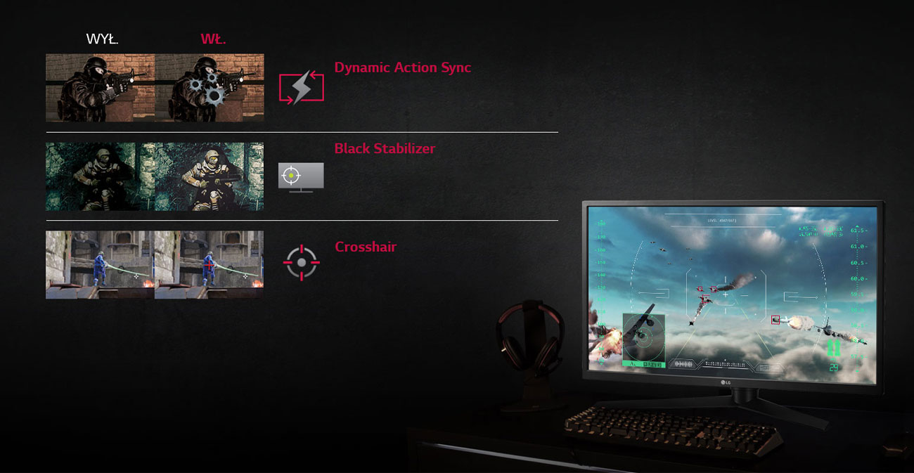 Monitor LG 27GK750F-B Funkcje dla graczy