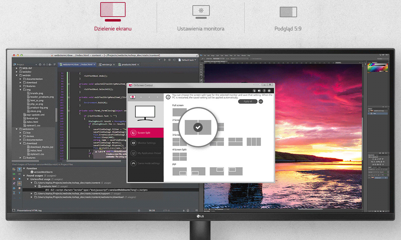 LG 29WK500-P Łatwa konfiguracja OnScreen Control
