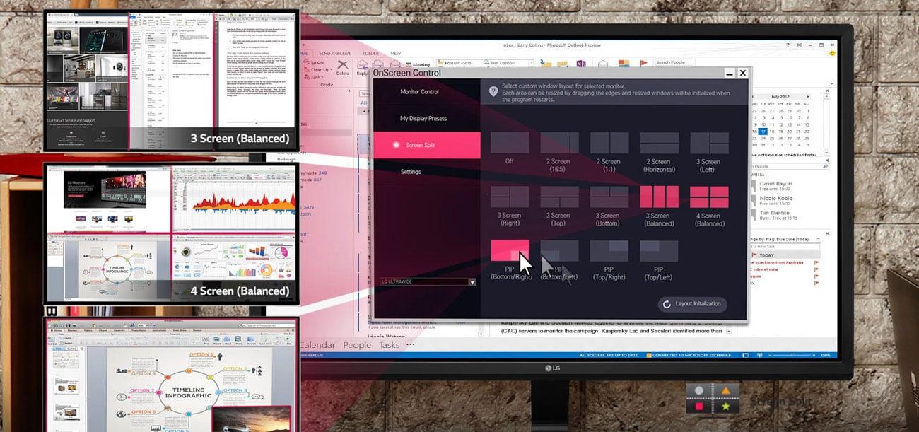 LG 32MP58HQ Funkcja Screen Split
