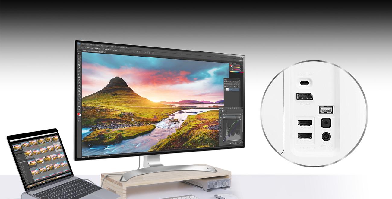 LG 32UD89-W złącza USB i USB-C