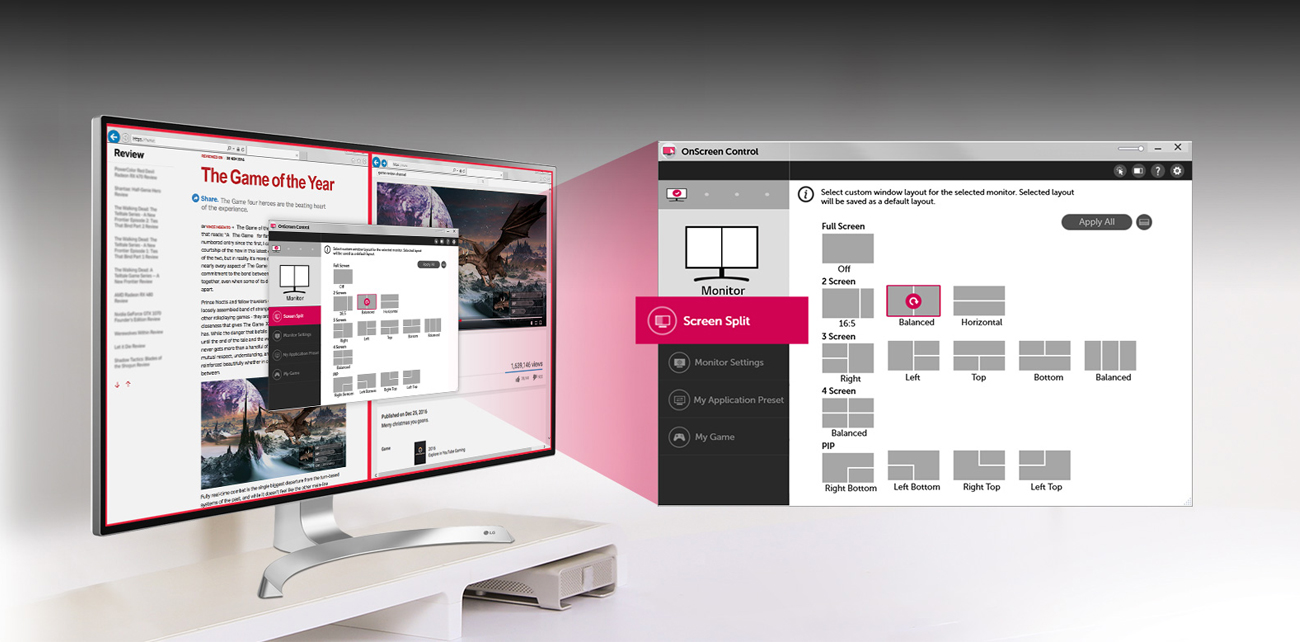 LG 32UD89-W podział ekranu Screen Spli