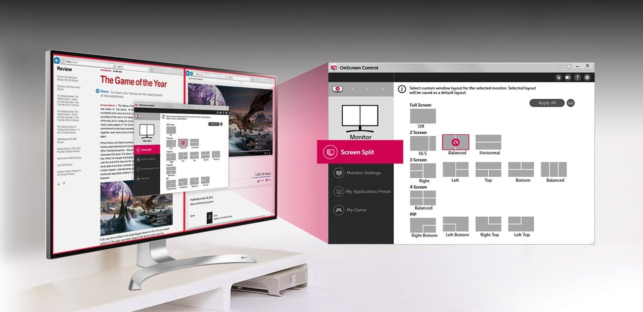 LG 32UD99-W podział ekranu Screen Spli