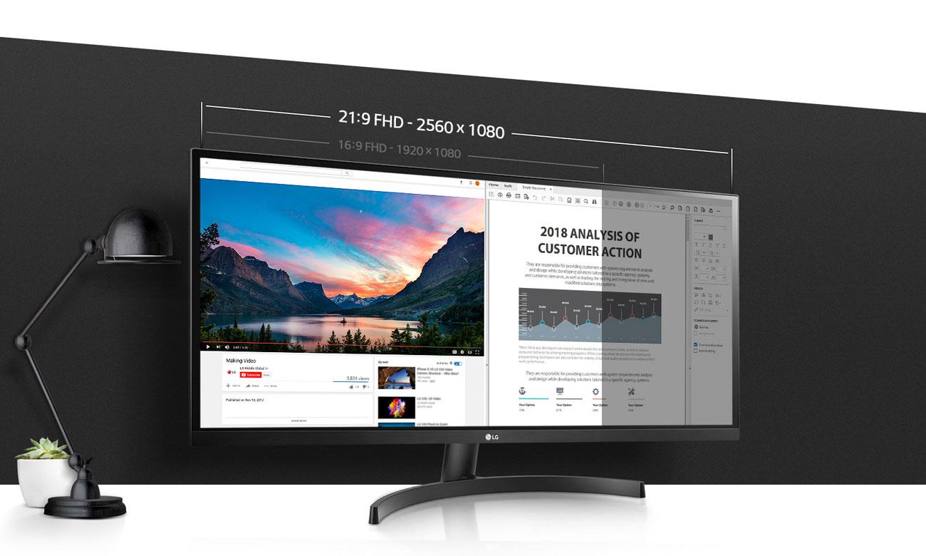 LG 34WK500-P Gamingowy UltraPanoramiczny monitor 21:9 z głośnikami